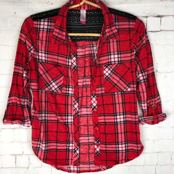 22e54d7b8bcd No Boundaries Tops | Red Flannel Shirt Lace Trim Sz M 79 | Poshmark